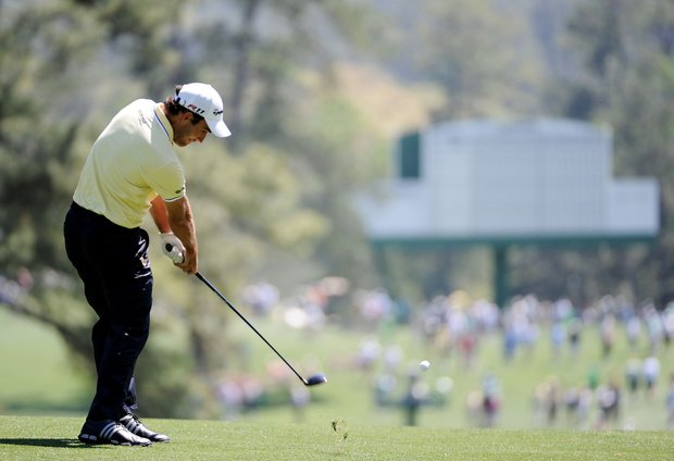 Edoardo Molinari of Italy hits a shot during a practice round prior to the 2011 Masters Tournament at Augusta National Golf Club on April 4, 2011 in Augusta, Georgia.