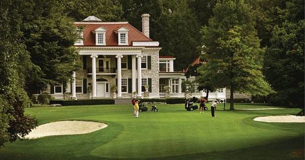 The West Course's fifth green doubles as the front lawn for the High Point Mansion.
