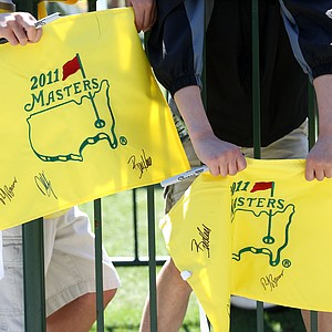 Young fans wait for autographs during a practice round prior to the 2011 Masters Tournament at Augusta National Golf Club on April 5, 2011 in Augusta, Georgia.