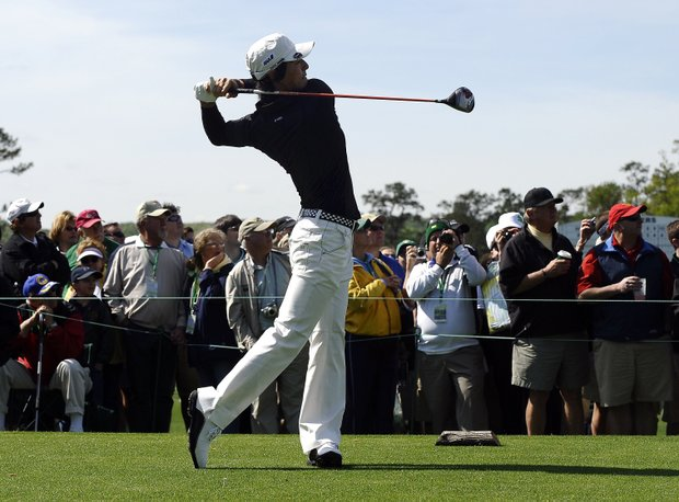 Hiroyuki Fujita from Japan tees off during a practice round prior to the 2011 Masters Tournament at Augusta National Golf Club on April 5, 2011 in Augusta, Georgia.
