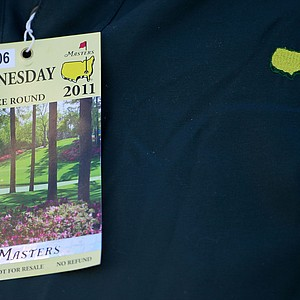 A patron is seen with a Wednesday ticket during a practice round prior for the Masters.