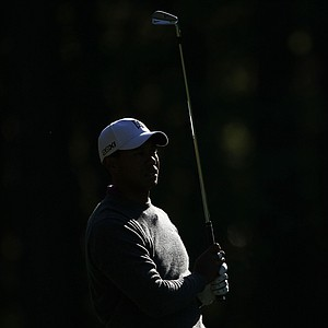 Tiger Woods watches a shot during a Masters practice round.