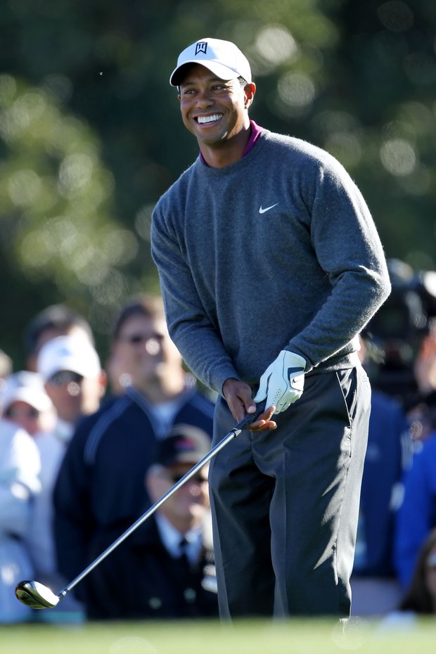 Tiger Woods waits to play a shot during a practice round.