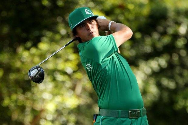 Rickie Fowler hits his tee shot on the second tee during the first round of the 2011 Masters Tournament at Augusta National Golf Club on April 7, 2011 in Augusta, Georgia