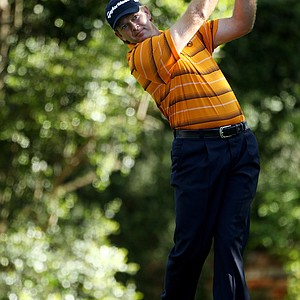 Retief Goosen of South Africa hits his tee shot on the second hole during the first round of the 2011 Masters Tournament at Augusta National Golf Club on April 7, 2011 in Augusta, Georgia.