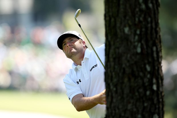 Steve Marino watches a shot on the first hole during the first round of the 2011 Masters Tournament at Augusta National Golf Club on April 7, 2011 in Augusta, Georgia.