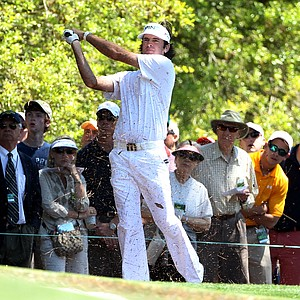Bubba Watson hits his second shot on the first hole during the first round of the 2011 Masters Tournament at Augusta National Golf Club on April 7, 2011 in Augusta, Georgia.