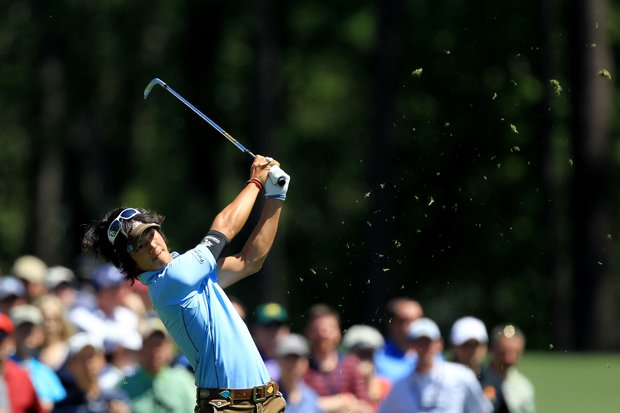 Ryo Ishikawa of Japan watches his tee shot on the 12th hole during the first round of the 2011 Masters Tournament at Augusta National Golf Club on April 7, 2011 in Augusta, Georgia.