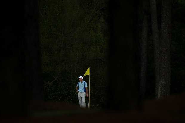 Jim Furyk wait to putt on the 17th green during the first round of the 2011 Masters Tournament at Augusta National Golf Club on April 7, 2011 in Augusta, Georgia.