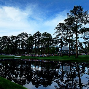 (EDITORS NOTE: A POLARIZING FILTER WAS USED) A general view of the 16th hole during the first round of the 2011 Masters Tournament at Augusta National Golf Club on April 7, 2011 in Augusta, Georgia.