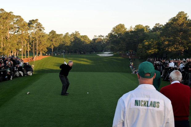 Jack Nicklaus hits the ceremonial first tee shot to start the first round of the 2011 Masters Tournament at Augusta National Golf Club on April 7, 2011 in Augusta, Georgia.