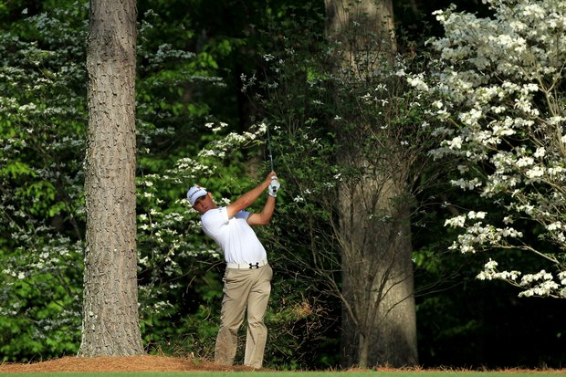 Gary Woodland hits his second shot on the 11th hole during the first round of the 2011 Masters Tournament at Augusta National Golf Club on April 7, 2011 in Augusta, Georgia.