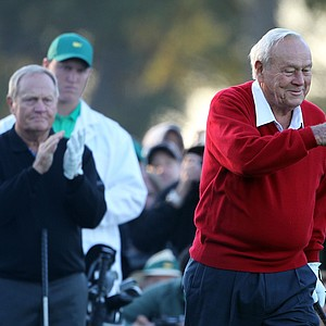 Arnold Palmer (R) and Jack Nicklaus wait on the first tee prior to starting the first round of the 2011 Masters Tournament at Augusta National Golf Club on April 7, 2011 in Augusta, Georgia.