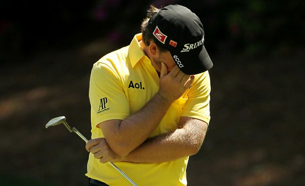 Graeme McDowell reacts to a missed putt during the first round of the Masters.