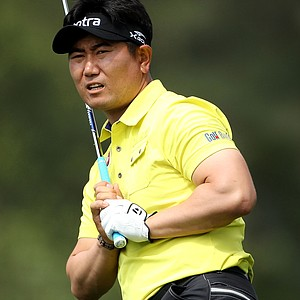 Y.E. Yang of South Korea watches a shot on the ninth hole during the second round of the 2011 Masters Tournament at Augusta National Golf Club on April 8, 2011 in Augusta, Georgia.