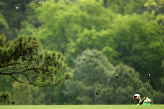 Alvaro Quiros of Spain hits a shot on the third hole during the second round of the 2011 Masters Tournament at Augusta National Golf Club on April 8, 2011 in Augusta, Georgia.