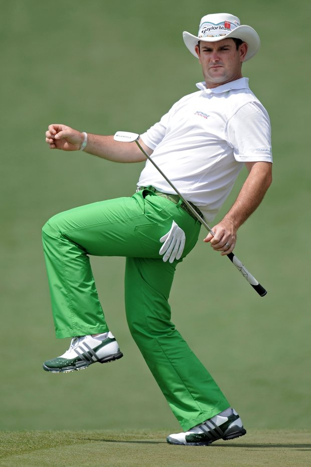 Rory Sabbatini of South Africa reacts to a putt on the second green during the second round of the 2011 Masters Tournament at Augusta National Golf Club on April 8, 2011 in Augusta, Georgia.