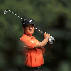 K.J. Choi of South Korea hits a shot on the fifth hole during the second round of the 2011 Masters Tournament at Augusta National Golf Club on April 8, 2011 in Augusta, Georgia.