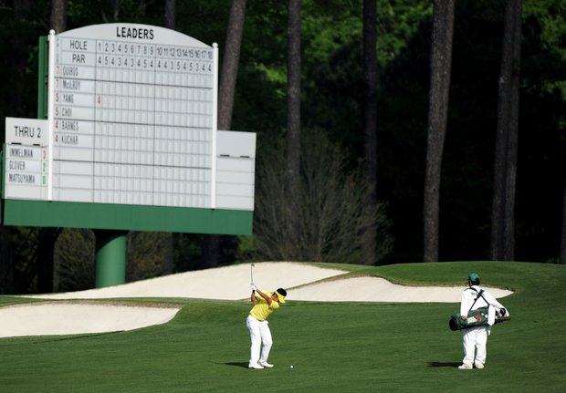 Amateur Hideki Matsuyama of Japan hits a shot on the third hole during the second round of the 2011 Masters Tournament at Augusta National Golf Club on April 8, 2011 in Augusta, Georgia.