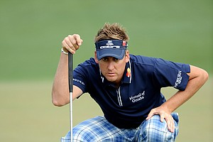 Ian Poulter of England lines up a putt on the second green during the second round of the 2011 Masters Tournament at Augusta National Golf Club on April 8, 2011 in Augusta, Georgia.