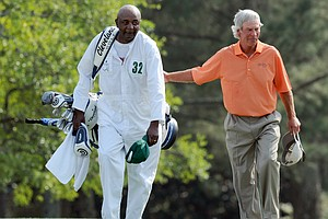 Caddie Carl Jackson and Ben Crenshaw during Friday's second round of the Masters.