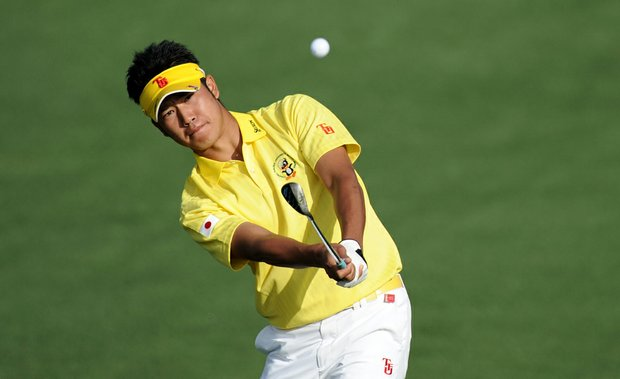 Amateur Hideki Matsuyama hits a shot on the second hole during the second round of the 2011 Masters.