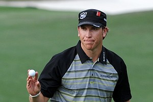 Ricky Barnes after making his putt on the 10th hole during the third round of the 2011 Masters.