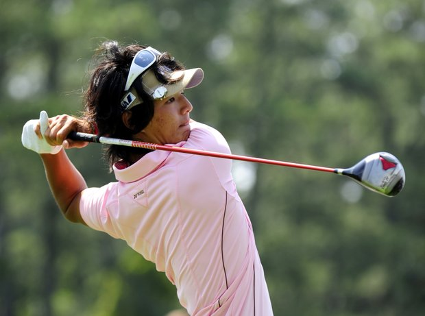 Ryo Ishikawa of Japan tees off on the first hole during the third round of the Masters golf tournament at Augusta National Golf Club on April 9, 2011 in Augusta, Georgia