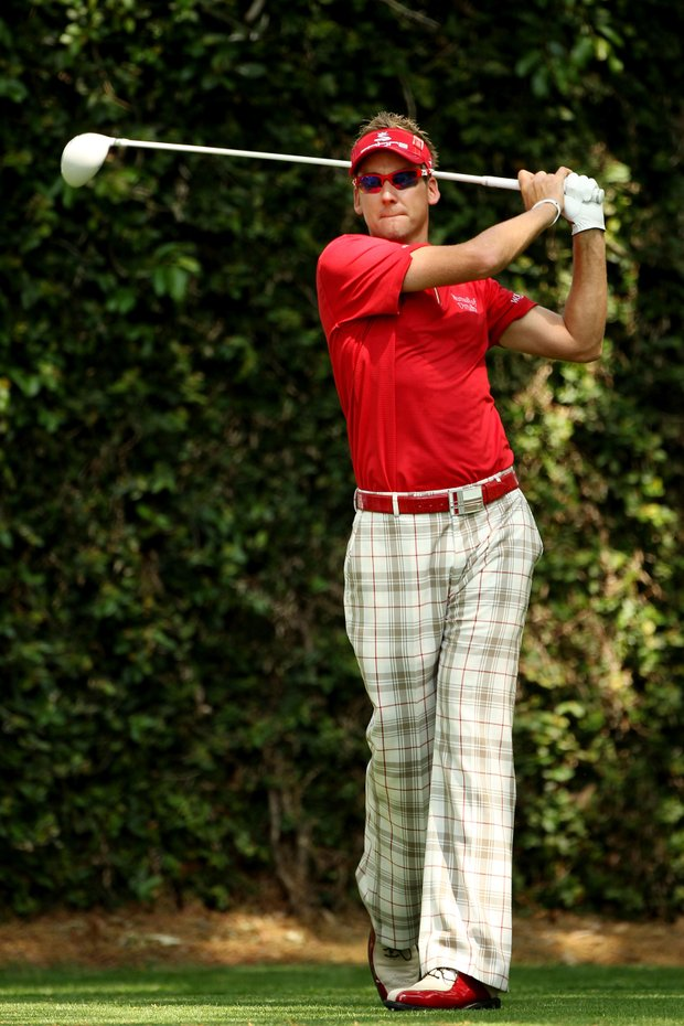 Ian Poulter of England watches his tee shot on the second hole during the third round of the 2011 Masters Tournament at Augusta National Golf Club on April 9, 2011 in Augusta, Georgia.