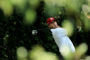 Matt Kuchar watches his tee shot on the second hole during the third round of the 2011 Masters Tournament at Augusta National Golf Club on April 9, 2011 in Augusta, Georgia.