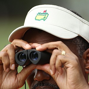 A patron watches the play during the third round of the 2011 Masters Tournament at Augusta National Golf Club on April 9, 2011 in Augusta, Georgia.