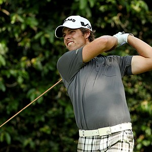 Aaron Baddeley of Australia watches his tee shot on the second hole during the third round of the 2011 Masters Tournament at Augusta National Golf Club on April 9, 2011 in Augusta, Georgia.