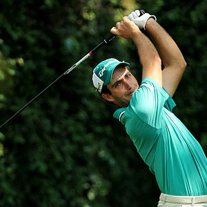 Edoardo Molinari of Italy watches his tee shot on the second hole during the third round of the 2011 Masters Tournament at Augusta National Golf Club on April 9, 2011 in Augusta, Georgia.