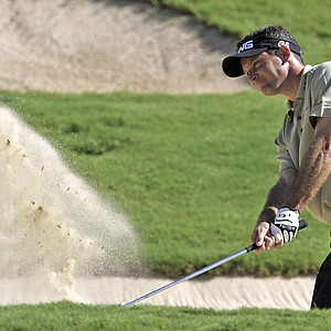 Mark Wilson blasts out of the sand on the final hole of the third round of the Valero Texas Open at La Cantera in San Antonio, Texas, Saturday, Sept. 24, 2005.