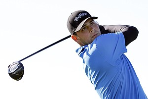 Gary Woodland hits his drive on the first hole during the final round of the PGA Tour qualifying golf tournament in Orlando, Fla., Monday, Dec. 6, 2010.