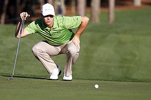 Gary Woodland lines up a put on his first hole during the first round of the Transitions Championship golf tournament Thursday, March 17, 2011, in Palm Harbor, Fla.