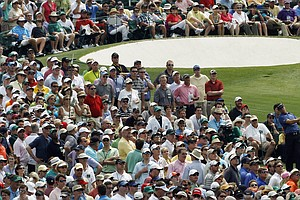 Gary Woodland watches his drive on the third tee during the third round of the Masters golf tournament Saturday, April 9, 2011, in Augusta, Ga.