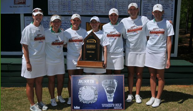 The Coastal Carolina women's golf team poses after winning the 2011 Big South Conference Championship.