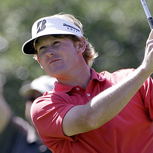 Brandt Snedeker watches his tee shot on the ninth hole during the second round of the Texas Open.