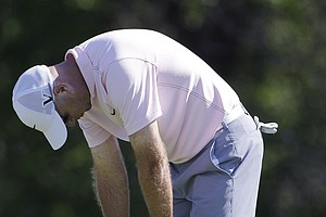 Stewart Cink reacts to missing a birdie putt on the eighth green during the second round of the Texas Open.