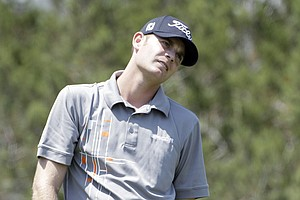 Brendan Steele reacts to a tee shot on the seventh hole during Round 3 of the Valero Texas Open.