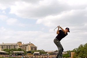 Brendan Steele plays a tee shot on the 16th hole during the final round of the Valero Texas Open, which he won with a strong par on the 72nd hole.