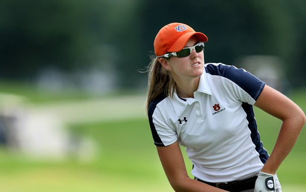 Auburn's Cydney Clanton watches her tee shot during the first round of the Women's NCAA Championship at Country Club of Landfall- Dye Course in Wilmington, N.C.