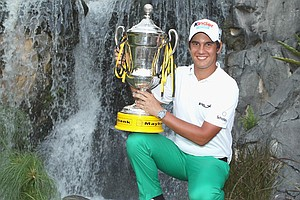Matteo Manassero with the trophy after winning the 2011 Maybank Malaysian Open.