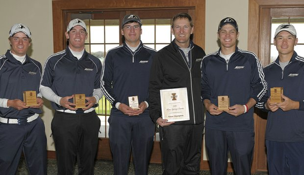 The Akron men's golf team (from left, Charlie Bull, Scott Landreth, Cameron Simmons, Head Coach Nick Goetze, Lucas Murray and Tim Lew) after winning the Illini Spring Classic