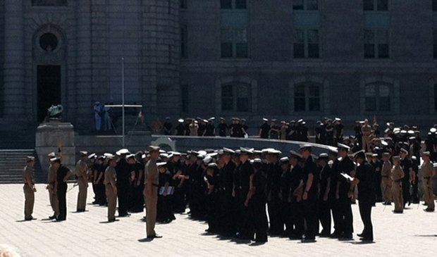 U.S. Naval Academy students line up for lunch in platoons.