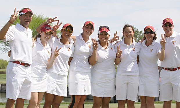 USC players and coaches celebrate after winning the 2011 Pac-10 Women's Championship.