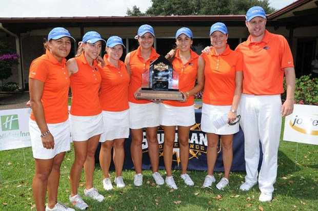 Texas San Antonio with its first Southland Conference Championship trophy in program history.