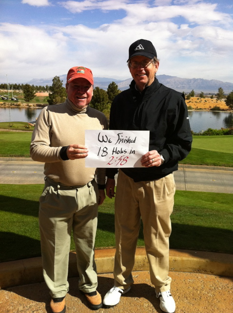 Lowell Masters (left) and David Brom were half of a foursome that played 18 holes at Angel Park in 2:48 as part of the club's Express Lane program.