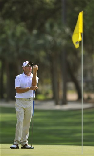 Brian Davis waits  to putt on the 12th green during the third round of The Heritage in Hilton Head, S.C.